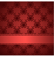 Red lacy background with silky ribbon vector