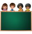 Kids leaning over the empty blackboard vector