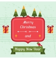 Merry christmas and happy new year invitation card vector