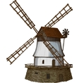 Woodcut windmill vector