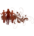 Active people in grunge design vector