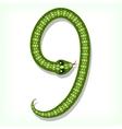 Snake font digit 9 vector