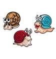 Three smiling colorful cartoon snails vector