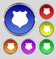Shield icon sign round symbol on bright colourful vector