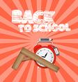 Back to school retro with alarm clock and ru vector