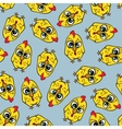 Seamless texture with funny cartoon chicken vector