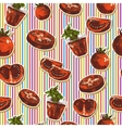 Hand drawn seamless pattern with tomatoes vector