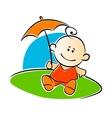 Little baby holding a sunshade or umbrella vector