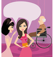 Girls gossiping about old man in a wheelchair vector