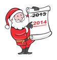 New year 2014 santa claus scroll sign vector