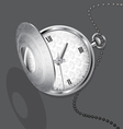 Silver chatelaine watch vector