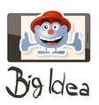 Big idea with funky man - avatar on cell pho vector