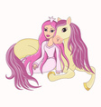 Beautiful princess and her lovely faithful horse vector