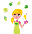Cooking woman preparing healthy green food vector
