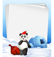 Panda and igloo vector