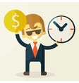 Businessman has money and clock vector