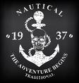 T-shirt print nautical marine badge design vector