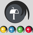 Mailbox icon sign symbol on five colored buttons vector