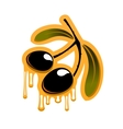 Two black olives dripping olive oil vector