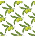 Seamless pattern of fresh green olives on a twig vector
