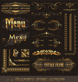 Golden design elements and page decor vector
