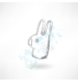 Head rabbit grunge icon vector