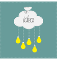 Cloud in shape of bag and hanging light bulbs vector