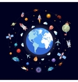 Flat design of earth with space icons vector