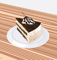 Piece of chocolate cake with cherries lying on a w vector