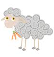 Cartoon sheep chewing orange flower vector