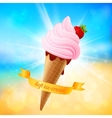 Summer ice-cream on shining background vector
