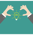 Businessman hands holding idea light bulb flat vector