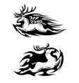 Leaping speeding deer off road icon vector