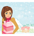 Cute girl with gift box vector