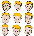 Little boy emotion cartoon collection vector