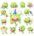 Set of green monsters vector