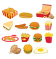 Junk food on white vector