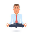 Businessman in a lotus position vector