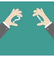 Businessman hands holding grey question vector