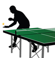 Ping pong player silhouette three vector
