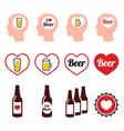 Man loving beer icons set vector