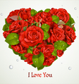 Valentines red roses card vector