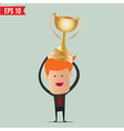 Cartoon business man hold winner cup on winner vector