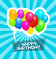 Happy birthday blue retro background with colorful vector