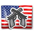 Flag and guns vector