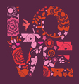 Spring floral ornamental love message print vector