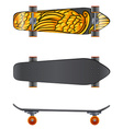 A skateboard in different angles vector