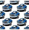 Seamless pattern of a retro blue car vector