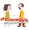 Man and woman holding hands with love you title on vector