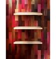 Empty shelf for exhibit on color wood eps 10 vector